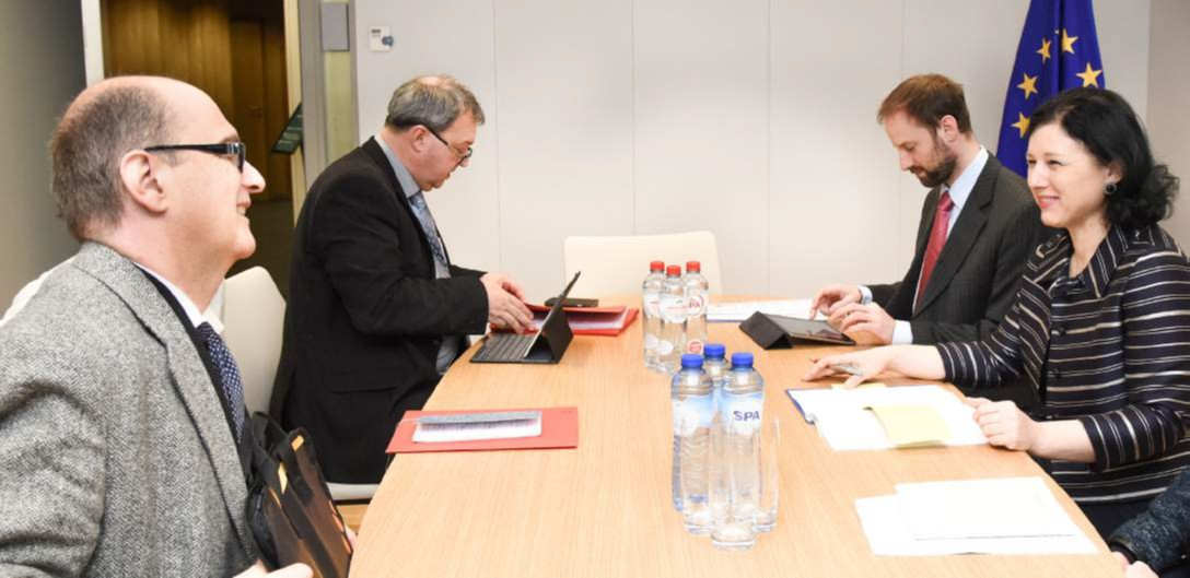 Vera Jourova commissioner Justice European Union meeting